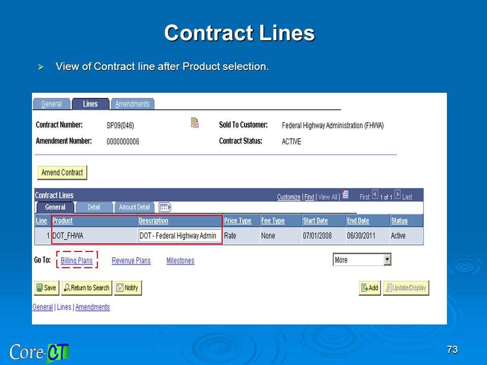 Contract Lines View of Contract line after Product selection.