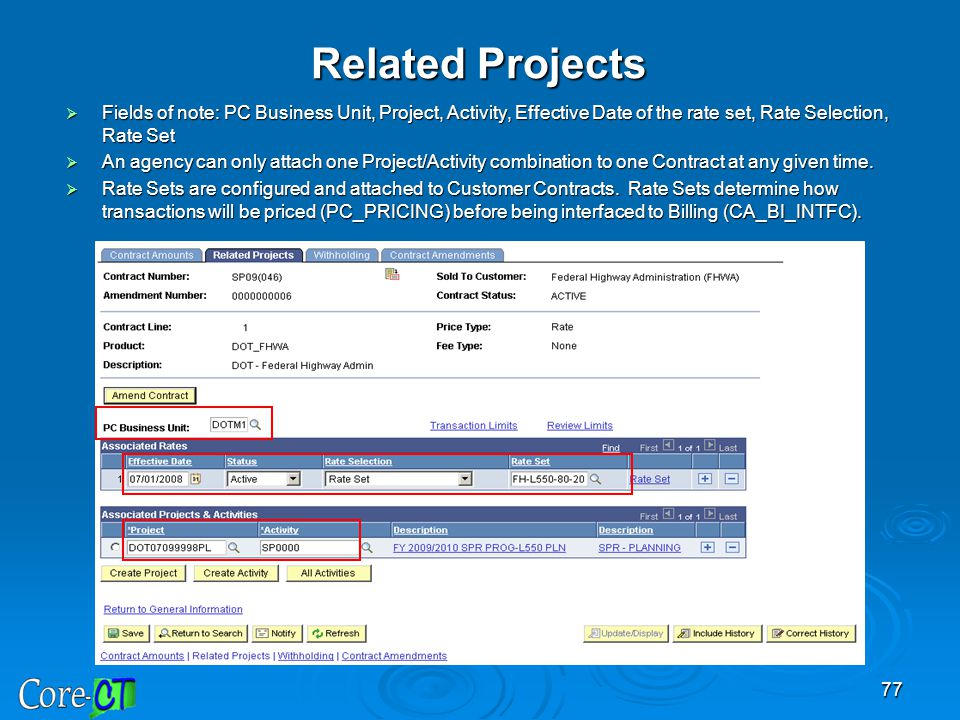 Related Projects Fields of note: PC Business Unit, Project, Activity, Effective Date of the rate set, Rate Selection, Rate Set.