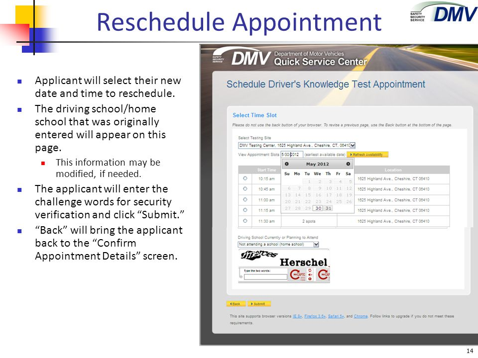 Reschedule Appointment