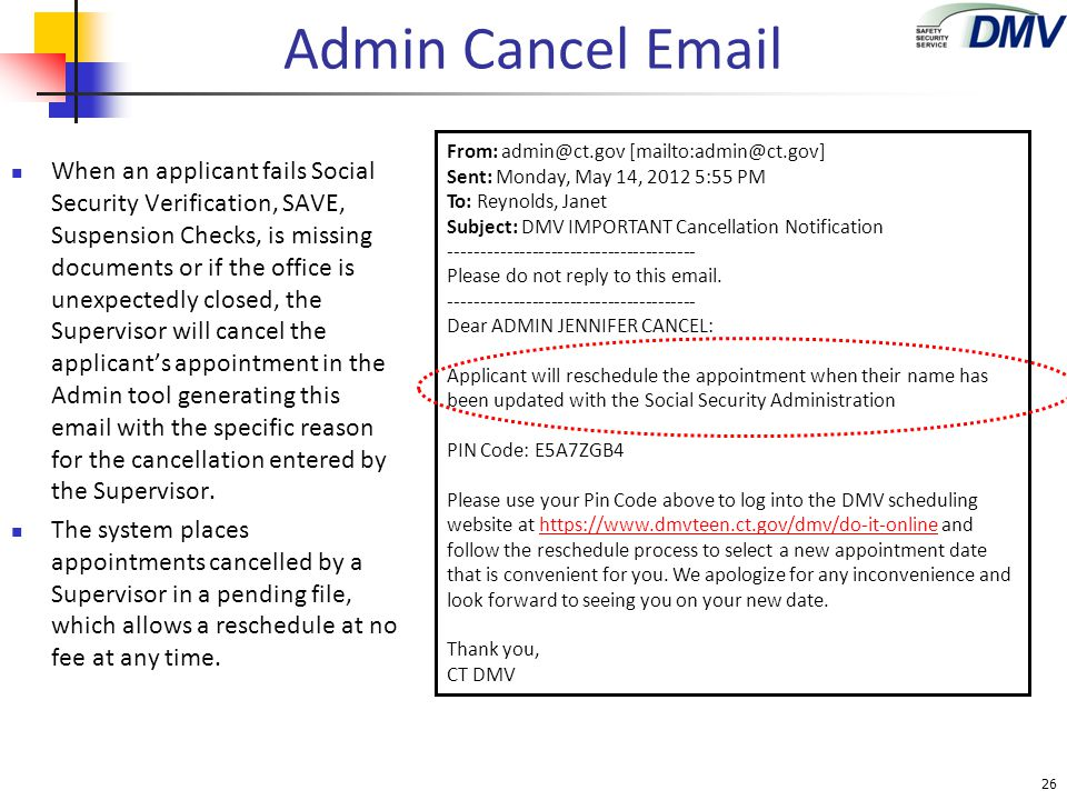 Admin Cancel Email