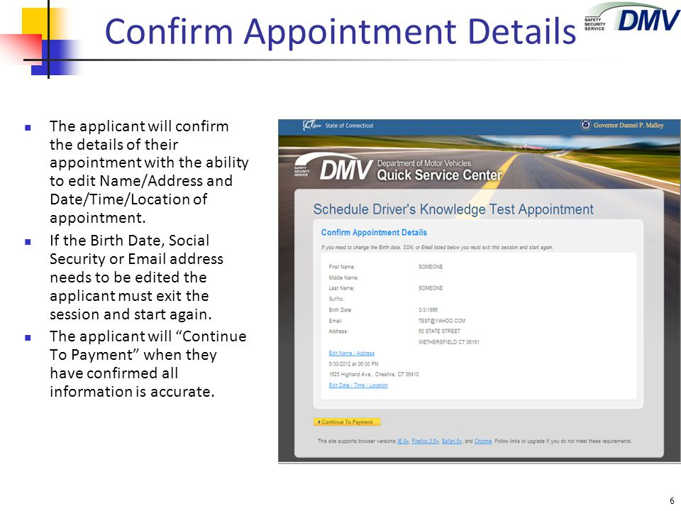 Confirm Appointment Details