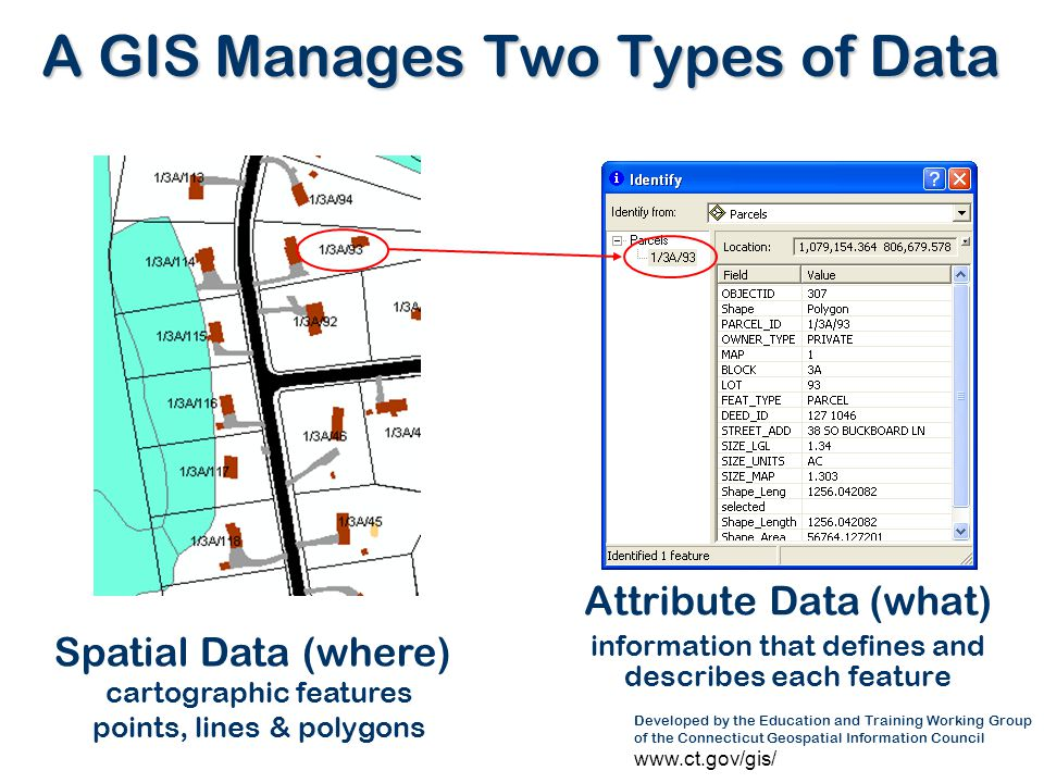 A GIS Manages Two Types of Data