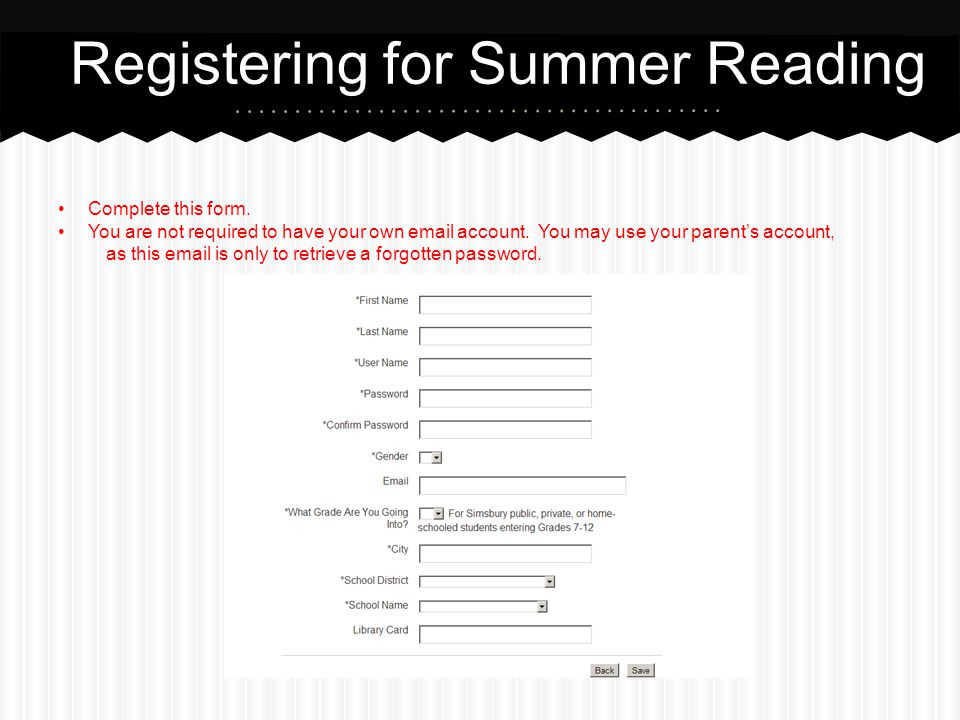Registering for Summer Reading
