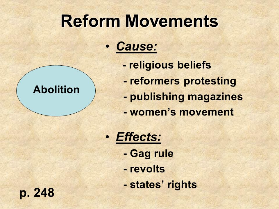 Reform Movements Cause: - religious beliefs Effects: p. 248