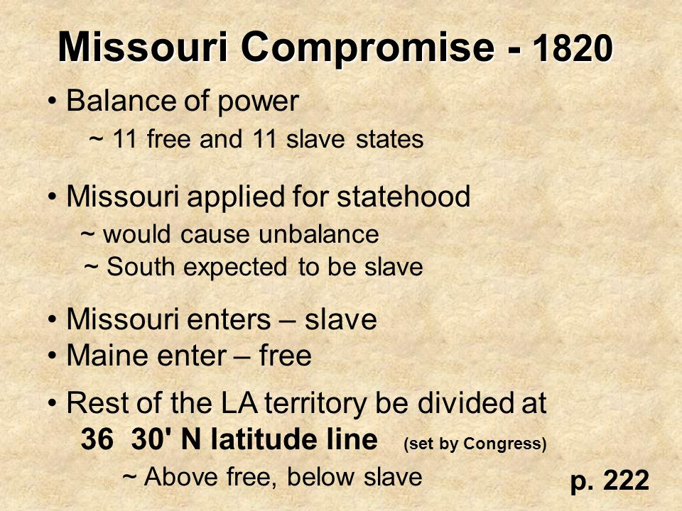 Missouri Compromise - 1820 Balance of power