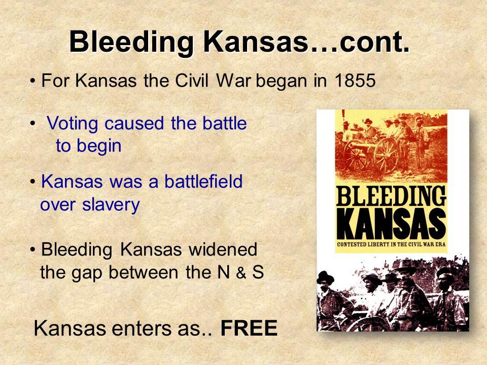 Bleeding Kansas…cont. Kansas enters as.. FREE