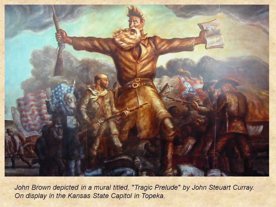 John Brown depicted in a mural titled, Tragic Prelude by John Steuart Curray.
