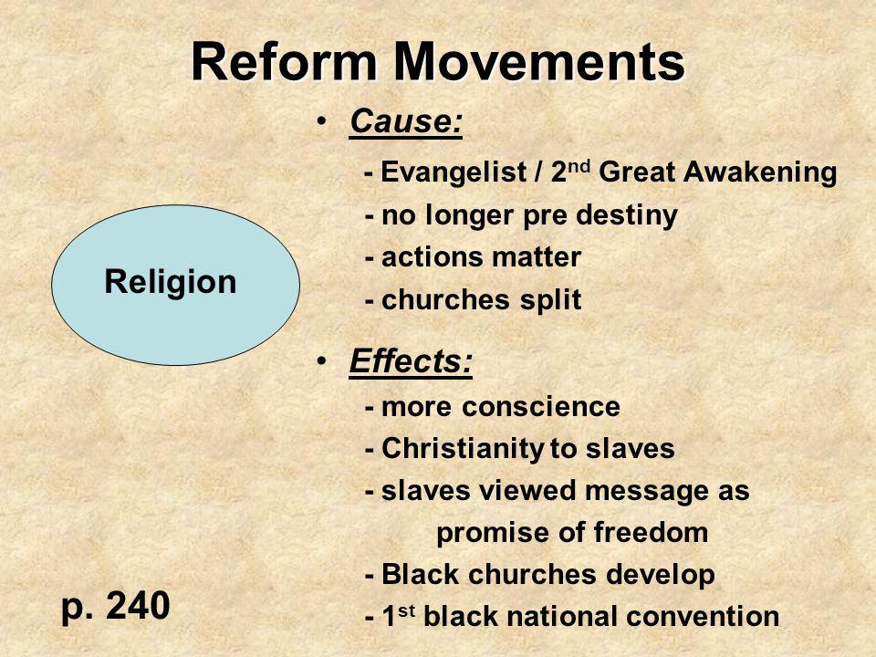 Reform Movements p. 240 Cause: - Evangelist / 2nd Great Awakening