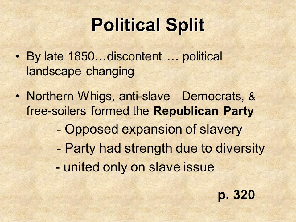 Political Split - united only on slave issue p. 320