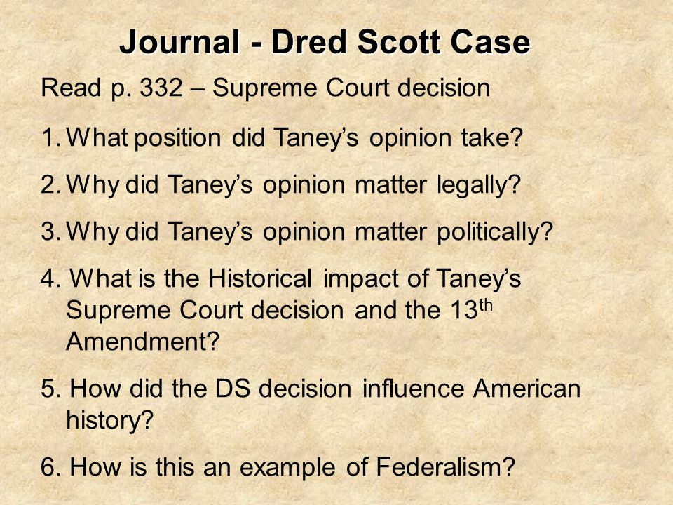 Journal - Dred Scott Case
