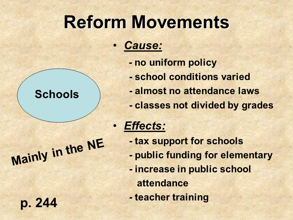 Reform Movements p. 244 Mainly in the NE Cause: - no uniform policy