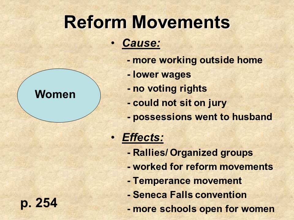 Reform Movements p. 254 Cause: - more working outside home Effects: