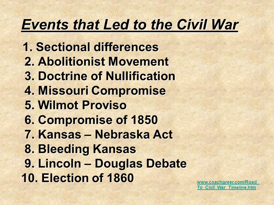 essay on the events that led to the civil war 1850s-- prelude to civil war dbq essay - download as word doc (doc) essay analyzing how events in the 1850s led to discord and tension in the pre-civil war.
