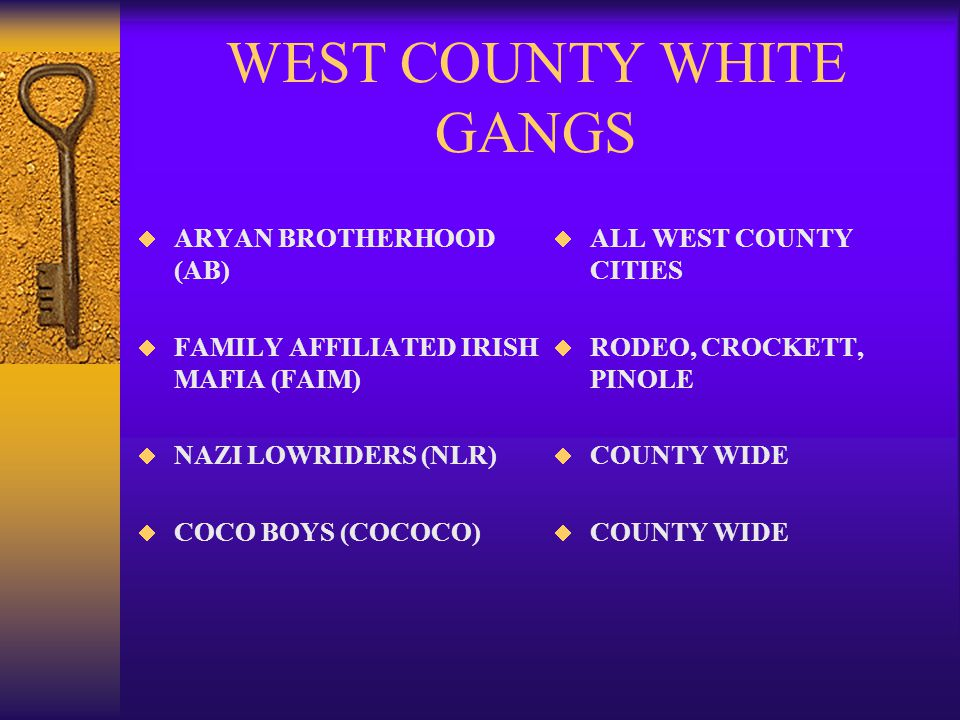 WEST COUNTY WHITE GANGS