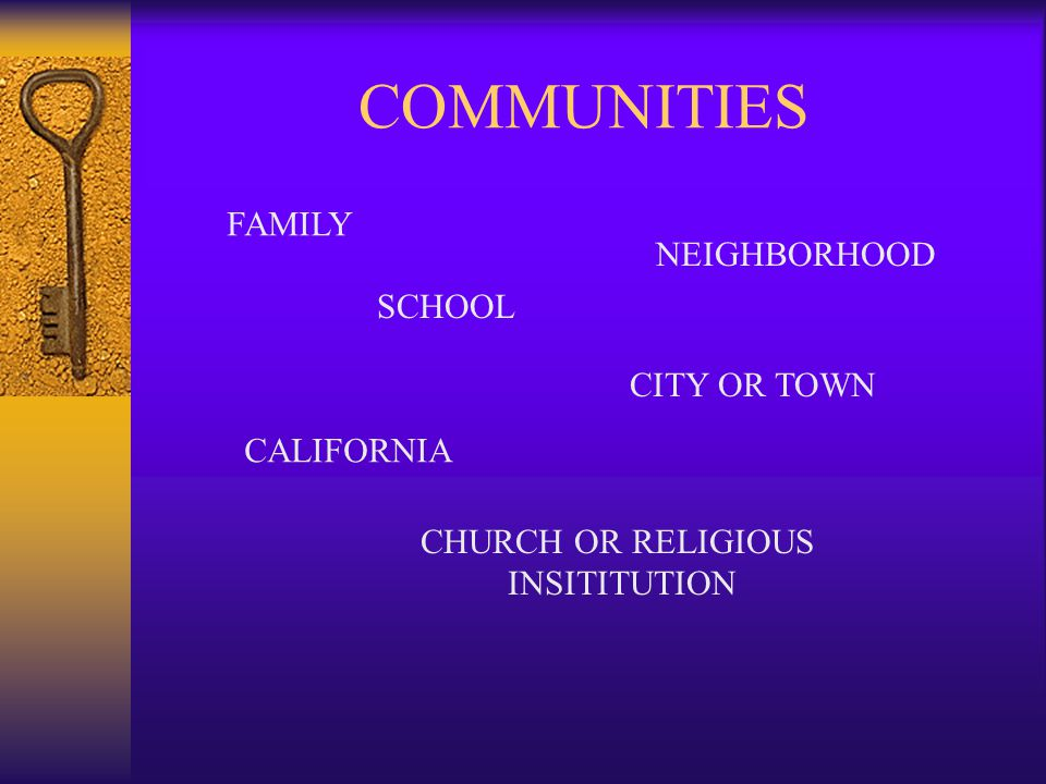 COMMUNITIES FAMILY NEIGHBORHOOD SCHOOL CITY OR TOWN CALIFORNIA