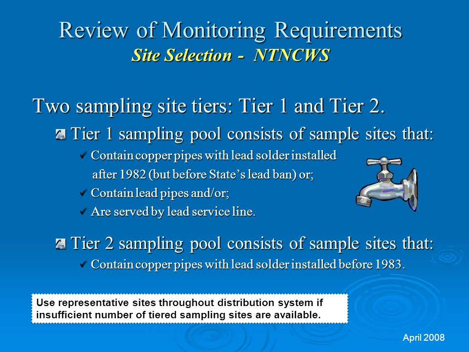 Review of Monitoring Requirements Site Selection - NTNCWS