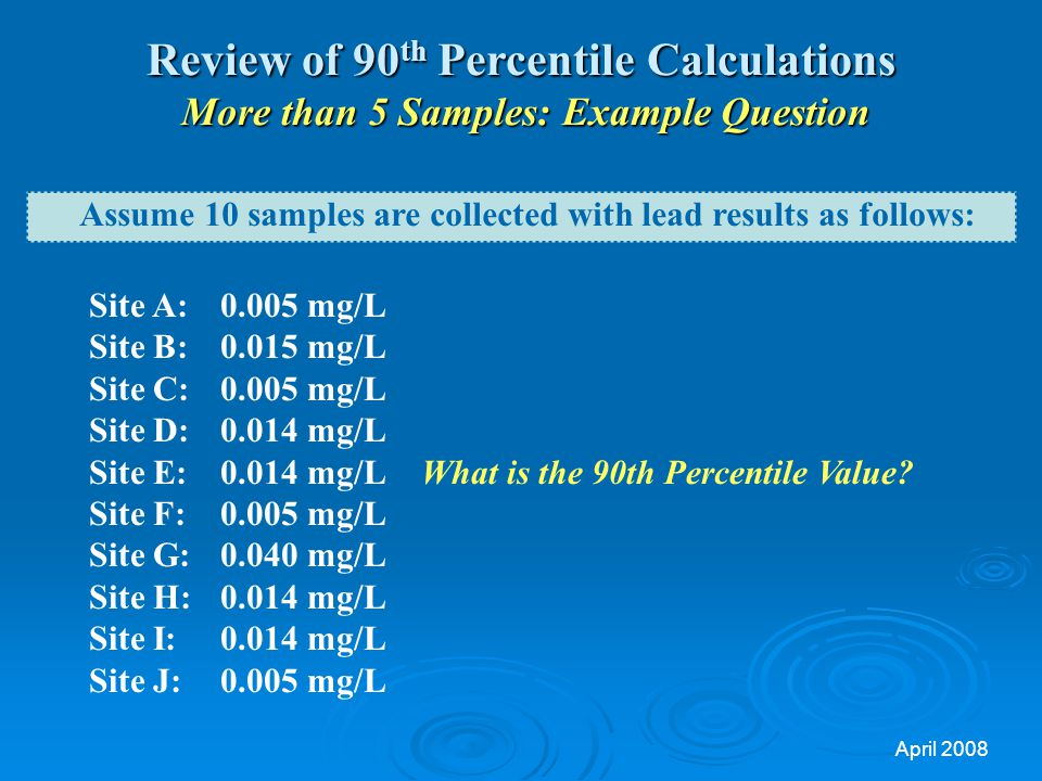 Review of 90th Percentile Calculations More than 5 Samples: Example Question