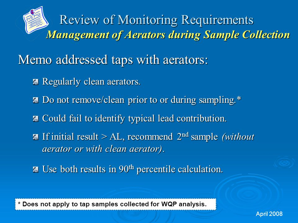 Memo addressed taps with aerators: