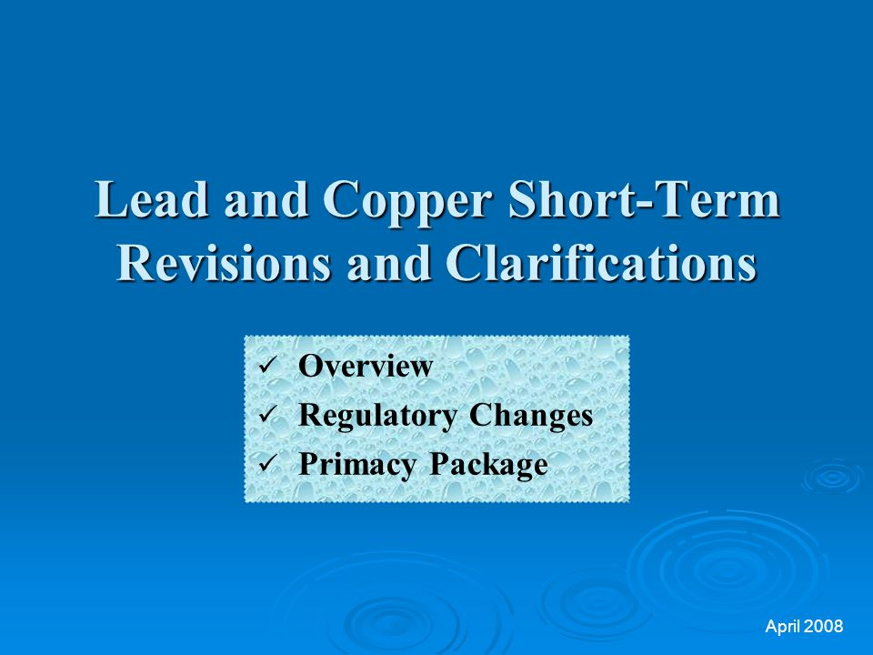 Lead and Copper Short-Term Revisions and Clarifications