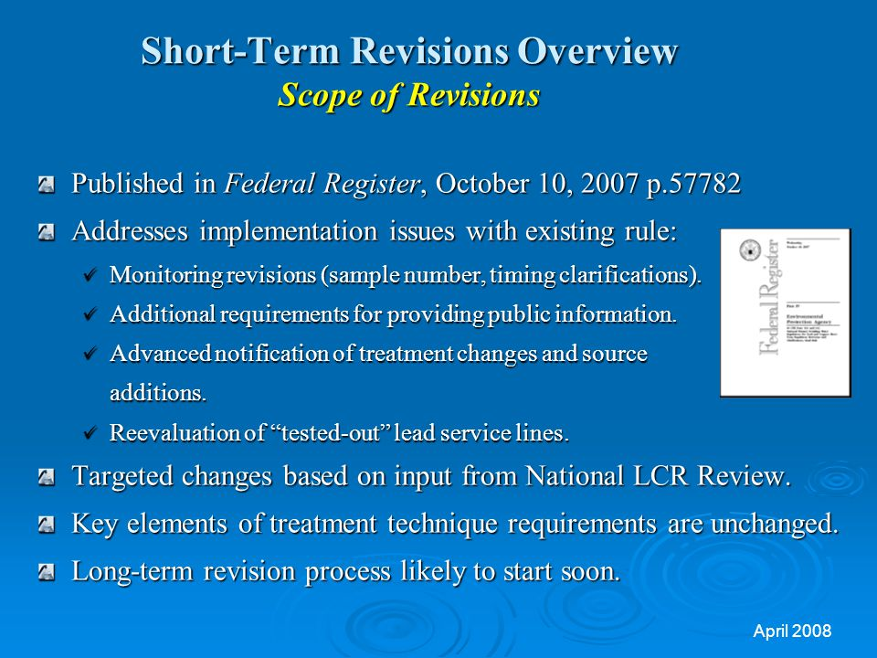 Short-Term Revisions Overview Scope of Revisions