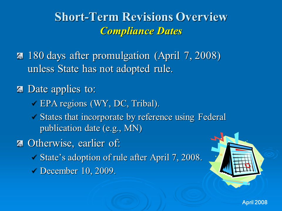 Short-Term Revisions Overview Compliance Dates