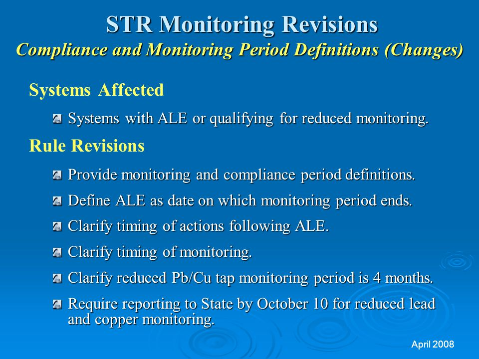 STR Monitoring Revisions Compliance and Monitoring Period Definitions (Changes)