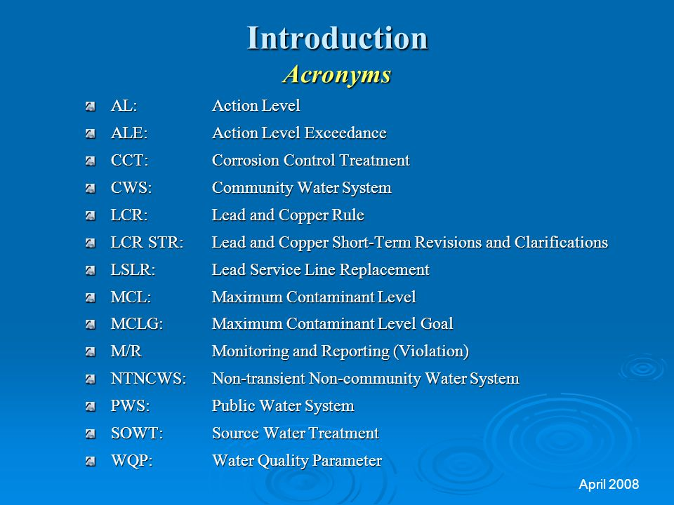 Introduction Acronyms