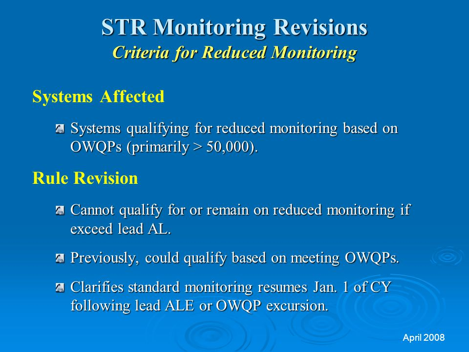 STR Monitoring Revisions Criteria for Reduced Monitoring