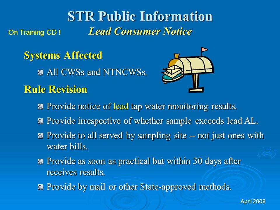 STR Public Information Lead Consumer Notice
