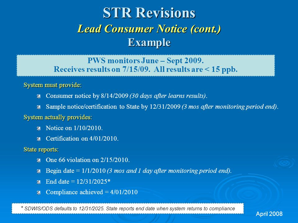 STR Revisions Lead Consumer Notice (cont.) Example
