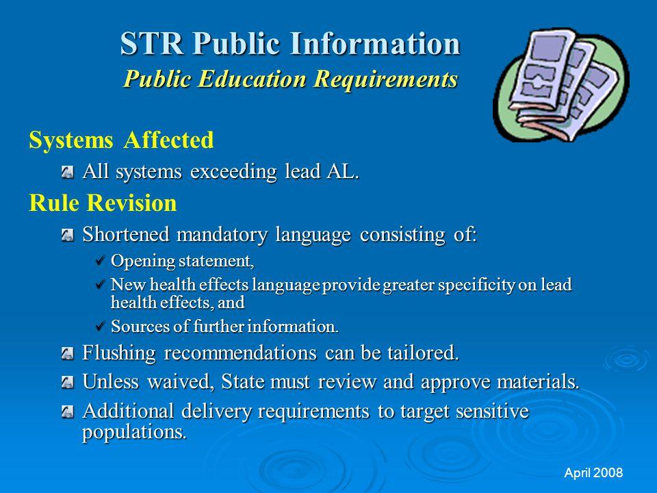 STR Public Information Public Education Requirements