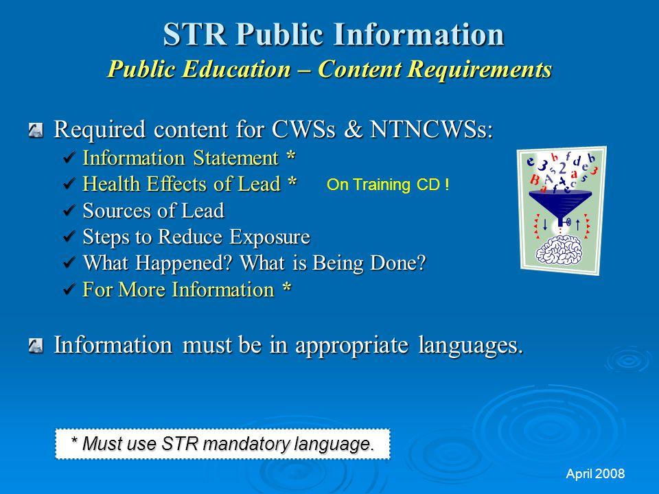 STR Public Information Public Education – Content Requirements