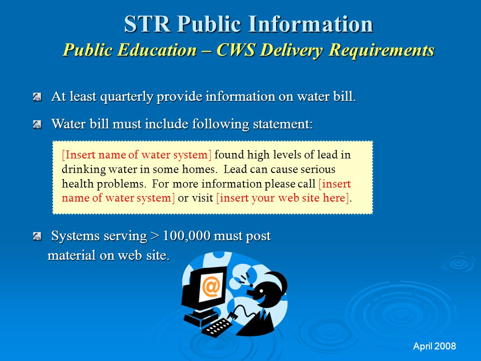 STR Public Information Public Education – CWS Delivery Requirements