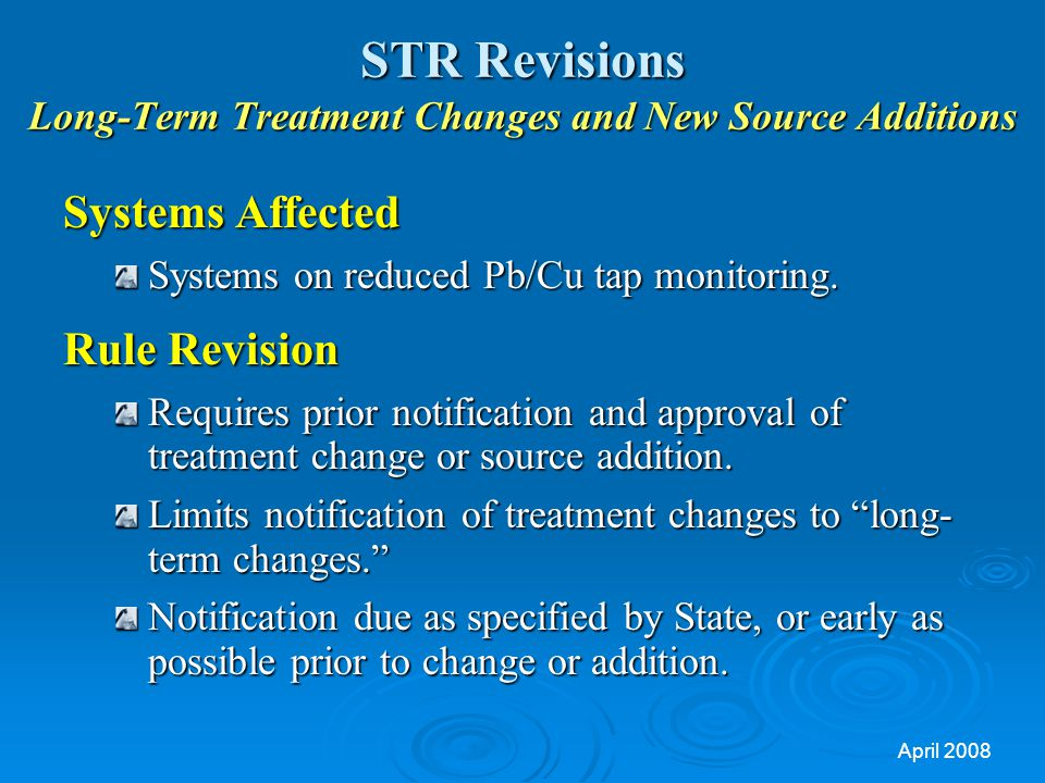 STR Revisions Long-Term Treatment Changes and New Source Additions