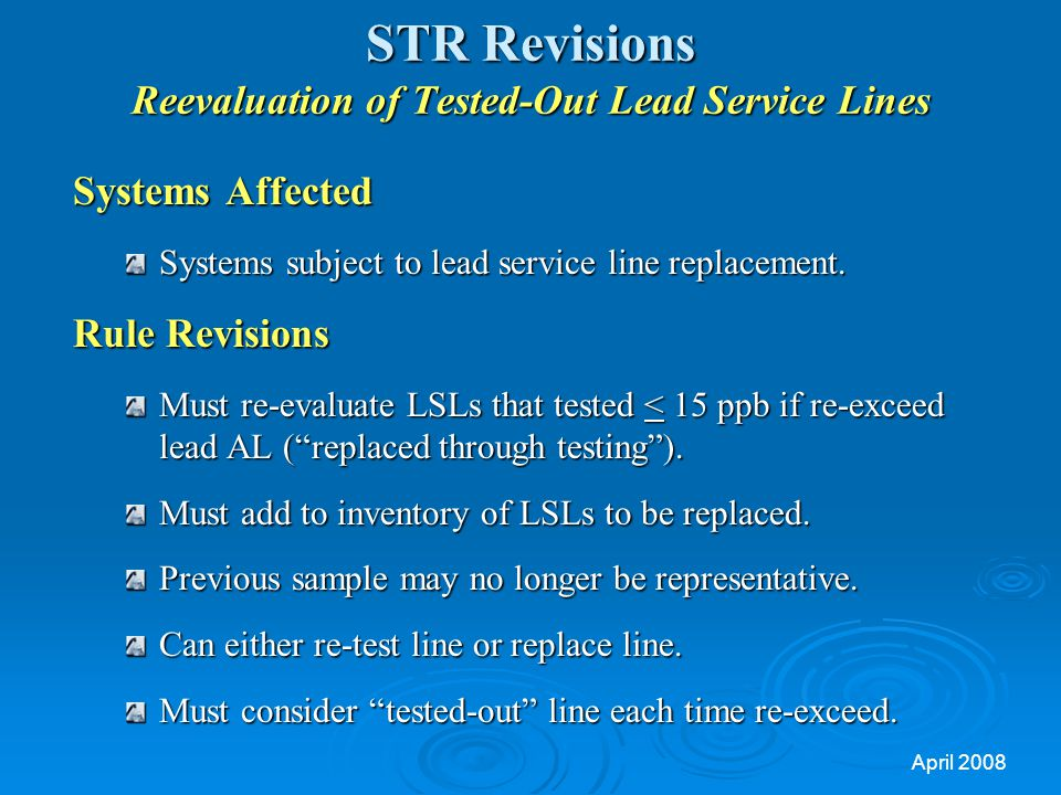 STR Revisions Reevaluation of Tested-Out Lead Service Lines