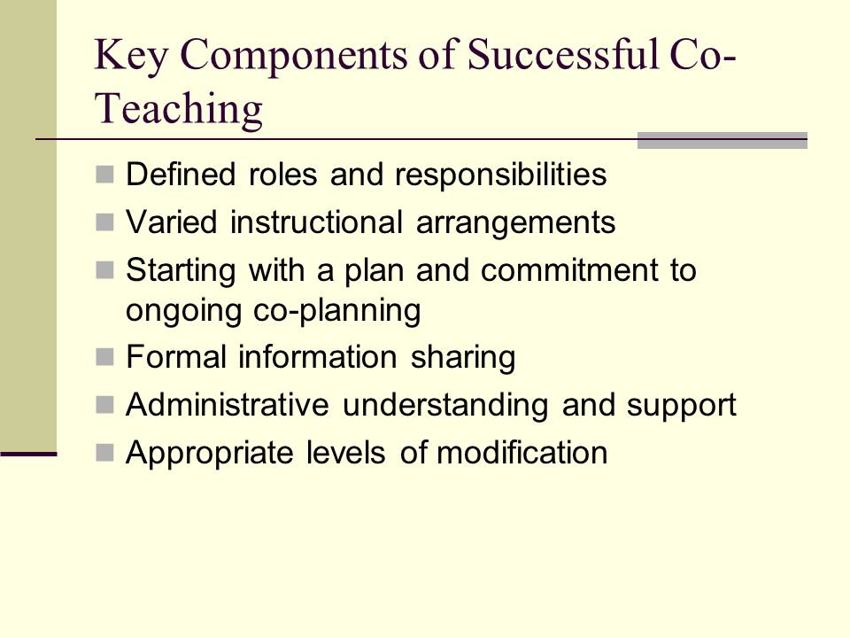 Key Components of Successful Co-Teaching