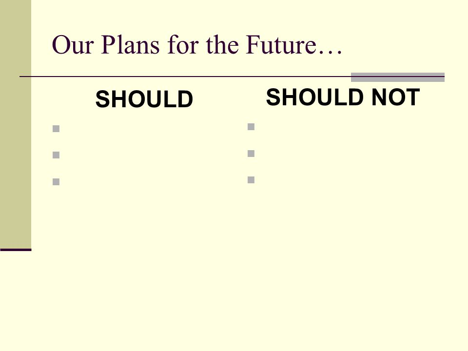 Our Plans for the Future…