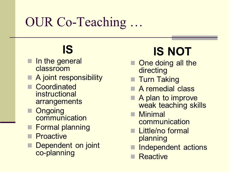 OUR Co-Teaching … IS IS NOT In the general classroom