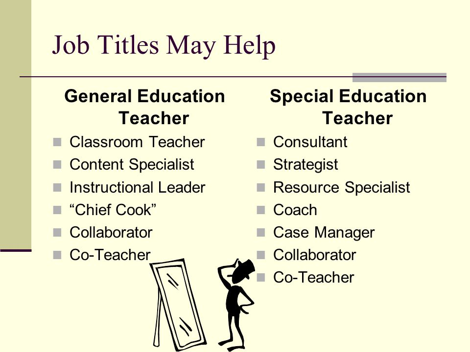 General Education Teacher Special Education Teacher
