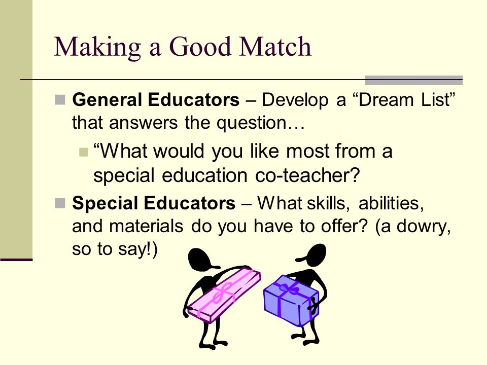 Making a Good Match General Educators – Develop a Dream List that answers the question…