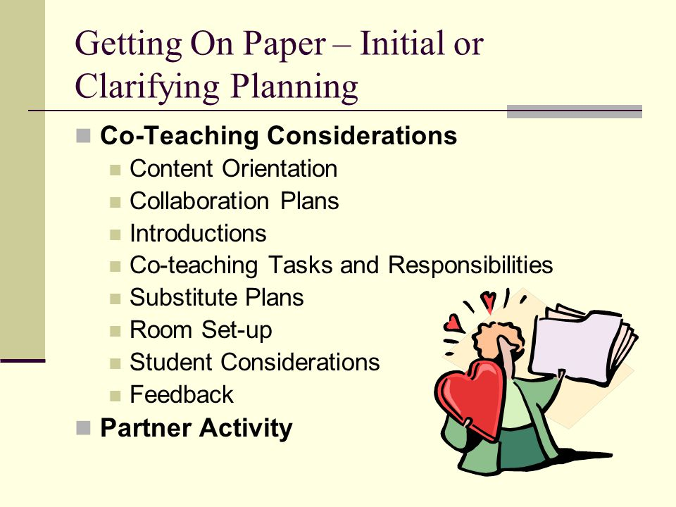 Getting On Paper – Initial or Clarifying Planning
