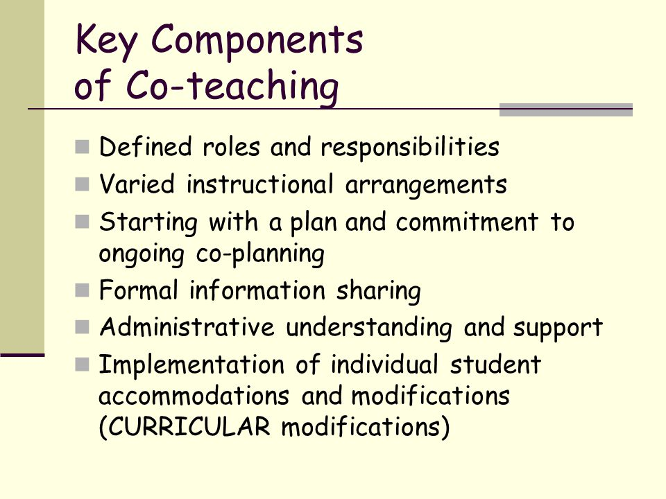 Key Components of Co-teaching