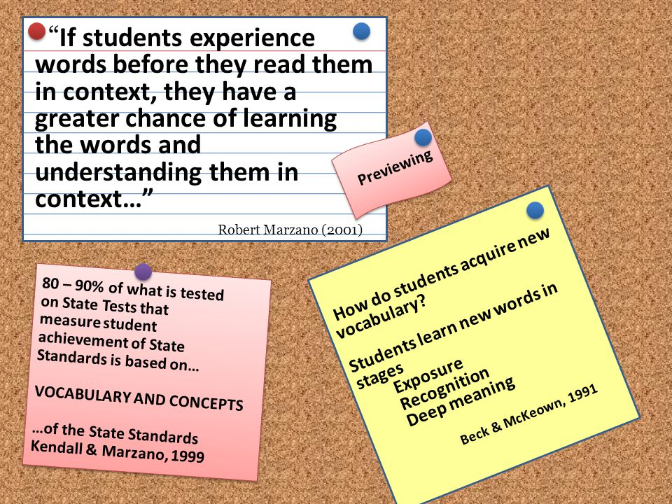 If students experience words before they read them in context, they have a greater chance of learning the words and understanding them in context… Robert Marzano (2001)