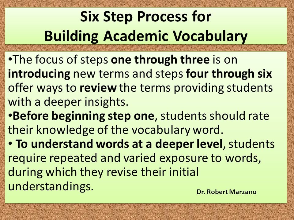 Six Step Process for Building Academic Vocabulary