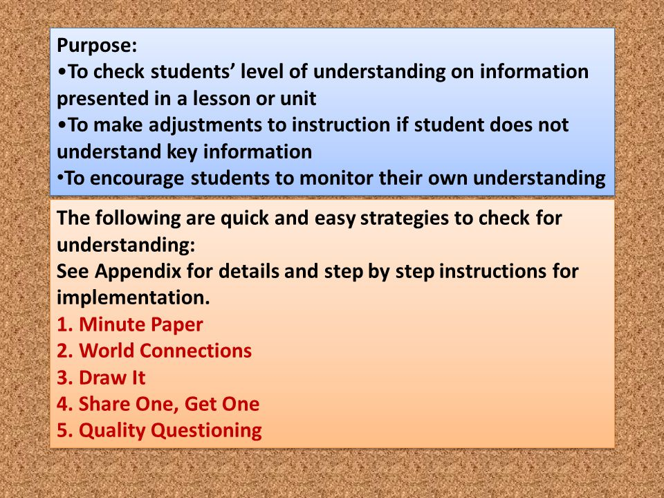 To encourage students to monitor their own understanding