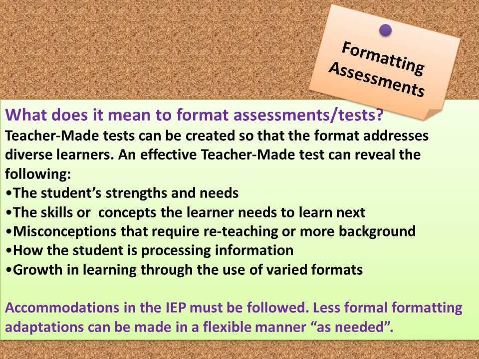 Formatting Assessments