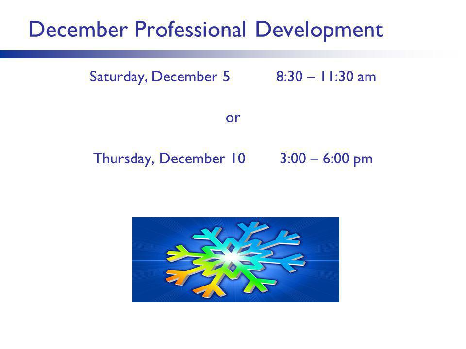 December Professional Development