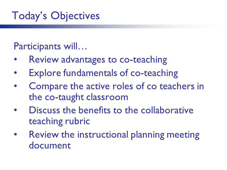 Today's Objectives Participants will… Review advantages to co-teaching