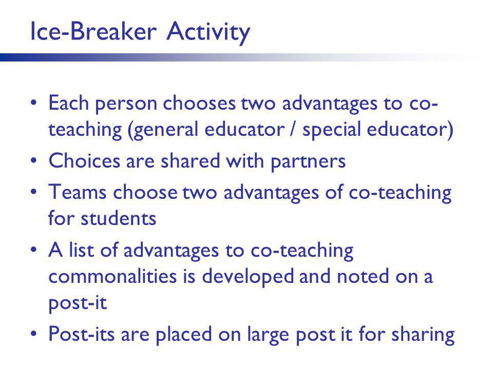 Ice-Breaker Activity Each person chooses two advantages to co-teaching (general educator / special educator)
