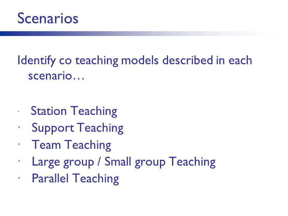 Scenarios Identify co teaching models described in each scenario…